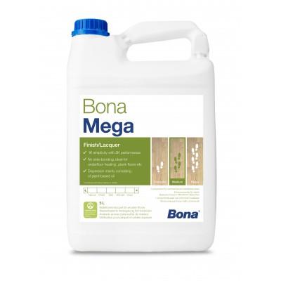 Однокомпонентный, воднодисперсионный паркетный лак Bona Mega (Бона Мега, полуматовый) (5л)