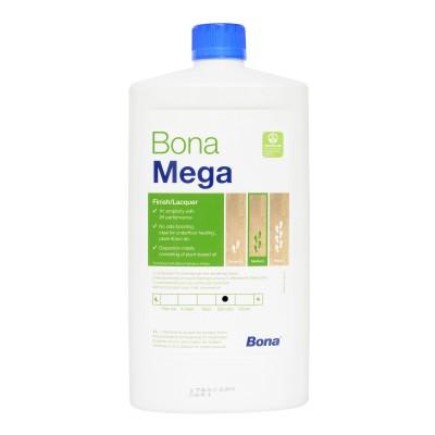 Однокомпонентный, воднодисперсионный паркетный лак Bona Mega (Бона Мега, полуматовый) (1л)